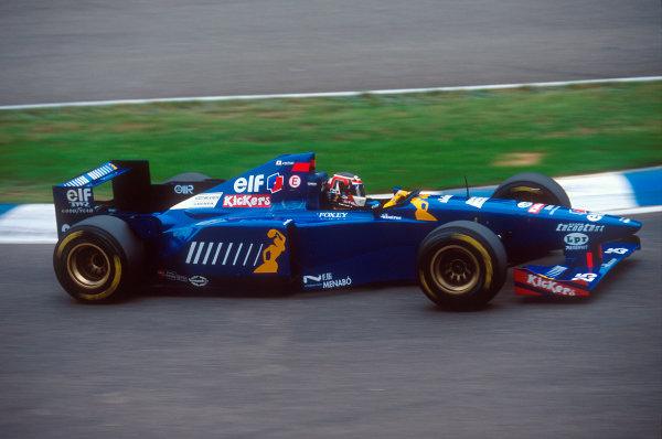 Silverstone, England.14-16 July 1995.Aguri Suzuki (Ligier JS41 Mugen-Honda). He was not in the race.Ref-95 GB 37.World Copyright - LAT Photographic