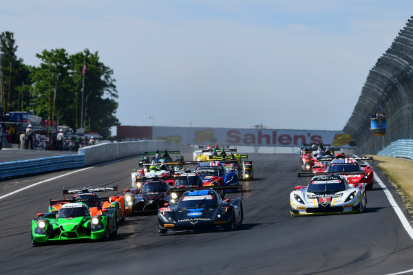 1-3 July, 2016, Watkins Glen, NewYork USA 2, Honda HPD, Ligier JS P2, P, Scott Sharp, Johannes van Overbeek, Luis Felipe Derani, 90, Chevrolet, Corvette DP, P, Ryan Dalziel, Marc Goossens, 10, Chevrolet, Corvette DP, P, Ricky Taylor, Max Angelelli, Jordan Taylor, 5, Chevrolet, Corvette DP, P, Joao Barbosa, Christian Fittipaldi lead the field at the start of the race. ©2016, Richard Dole LAT Photo USA