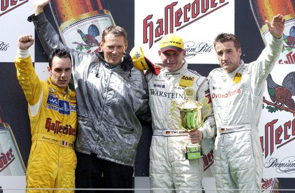 2002 DTM Championship Nurburgring, Germany. 2th - 4th August 2002. Race podium, Uwe Alzen (Mercedes CLK-DTM) 1st, Laurent Aiello (Abt Audi TT-R) 2nd and Bernd Schneider 3rd.World Copyright: Andre Irlmeier/LAT Photographic