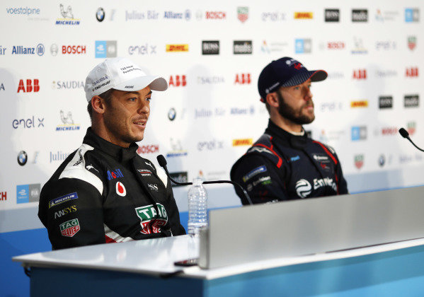 Andre Lotterer (DEU), Tag Heuer Porsche, Porsche 99x Electric, and Sam Bird (GBR), Envision Virgin Racing, in the press conference
