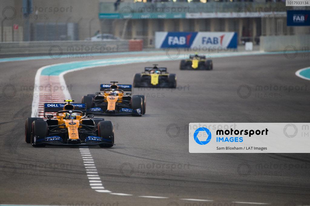 Lando Norris, McLaren MCL34, leads Carlos Sainz Jr., McLaren MCL34, Daniel Ricciardo, Renault R.S.19, and Nico Hulkenberg, Renault R.S. 19