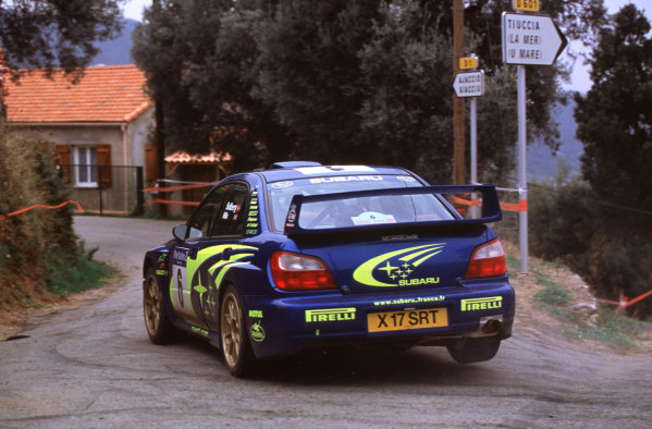 2001 FIA World Rally ChampsRallye de France, Ajaccio, Corsica, 18th-21st October 2001.Petter Solberg in the Subaru, action.World Copyright: LAT Photographic/McKlein.ref: 35mm Image A13
