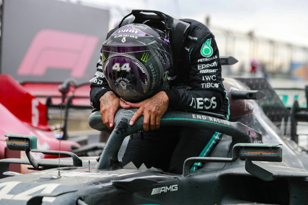 Lewis Hamilton, Mercedes-AMG Petronas F1, 1st position, arrives in Parc Ferme after securing his seventh world championship