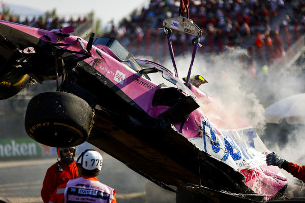 Car of Lance Stroll, Racing Point RP20 being recovered by marshals