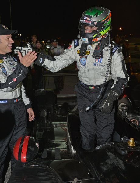 17-20 October, 2012, Braselton, Georgia USA.#95 Level 5 Motorsports\' Luis Diaz being greeted after last stint to win LMP2 class.(c)2012 Dan R. Boyd, LAT Photo USA