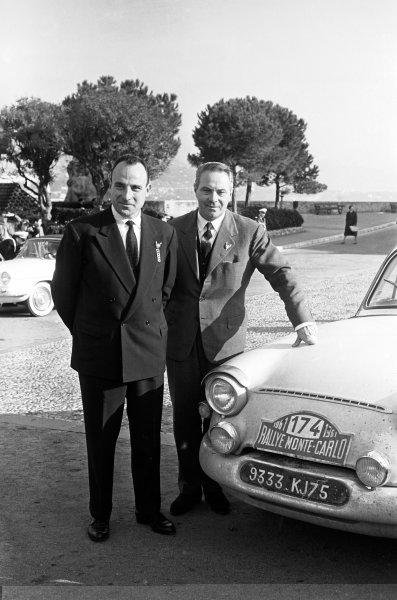 1961 Monte Carlo Rally.Monte Carlo, Monaco. January 1961.Maurice Martin/Roger Bateau (Panhard PL17) 1st position, portrait.World Copyright: LAT Photographicref: