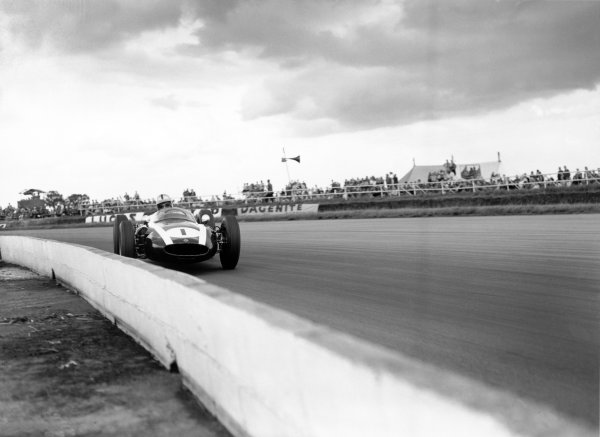 Silverstone, Great Britain. 16th July 1960. Jack Brabham (Cooper T53-Climax), 1st position, action.
