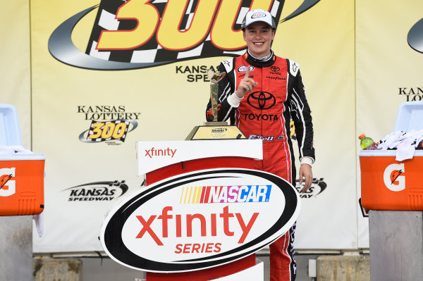 NASCAR XFINITY Series Kansas Lottery 300 Kansas Speedway, Kansas City, KS USA Saturday 21 October 2017 Christopher Bell, JBL Toyota Camry, Celebrates in Victory Lane. World Copyright: John K Harrelson LAT Images