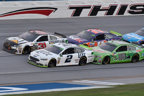 Monster Energy NASCAR Cup Series Alabama 500 Talladega Superspeedway Talladega, AL USA Sunday 15 October 2017 Brad Keselowski, Team Penske, Miller Lite Ford Fusion, Ryan Newman, Richard Childress Racing, Caterpillar Chevrolet SS, Dale Earnhardt Jr, Hendrick Motorsports, Mountain Dew Chevrolet SS, and Denny Hamlin, Joe Gibbs Racing, FedEx Ground Toyota Camry World Copyright: Rusty Jarrett LAT Images