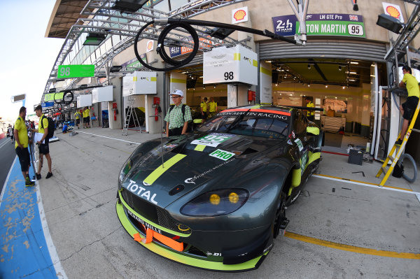2017 Le Mans 24 Hours test day. Circuit de la Sarthe, Le Mans, France. Friday 2 June 2017 #95 Aston Martin Racing Aston Martin Vantage: Nicki Thiim, Marco Sorensen, Richie Stanaway World Copyright: Rainier Ehrhardt/LAT Images ref: Digital Image 24LM-testday-re-0064
