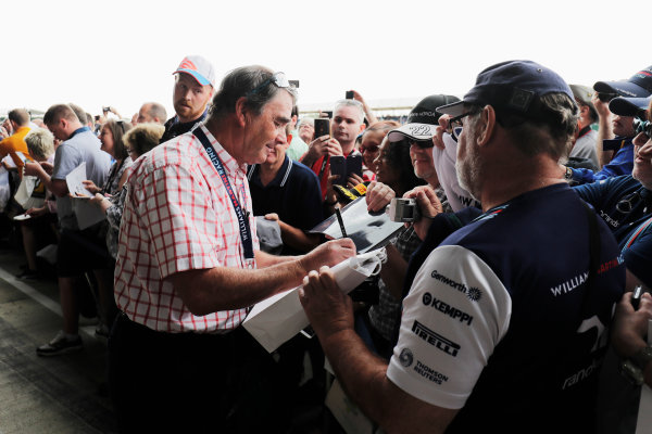 Williams 40 Event Silverstone, Northants, UK Friday 2 June 2017. Nigel Mansell signs autographs for fans. World Copyright: Zak Mauger/LAT Images ref: Digital Image _56I9992