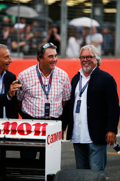 Williams 40 Event Silverstone, Northants, UK Friday 2 June 2017. L-R: Riccardo Patrese, Nigel Mansell and Keke Rosberg. World Copyright: Joe Portlock/LAT Images ref: Digital Image _L5R0354