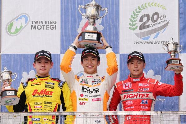 2017 Japanese Formula 3 Championship. Motegi, Japan. 29th - 230th July 2017. Rd 14 15 & 16. Rd16 Winner Sho Tsuboi ( #1 Corolla Chukyo Kuo TOM?S F317 ) 2nd position Mitsunori Takaboshi ( #23 B-MAX NDDP F3 ) 3rd position Hiroki Otsu ( #2 TODA RACING ) podium portrait  World Copyright: Yasushi Ishihara / LAT Images. Ref: 2017JF3_R14_16_16