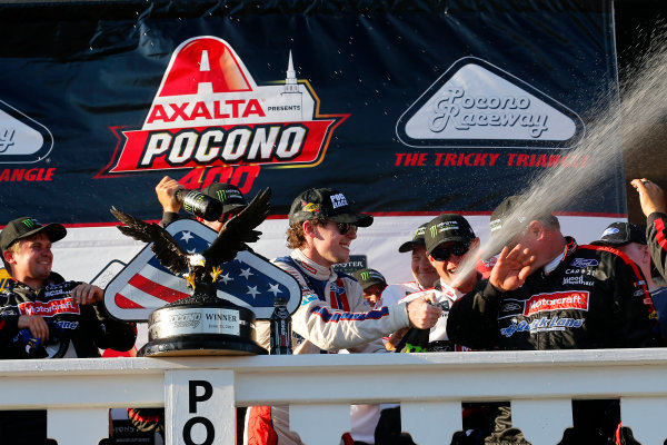 Monster Energy NASCAR Cup Series AXALTA presents the Pocono 400 Pocono Raceway, Long Pond, PA USA Sunday 11 June 2017 Ryan Blaney, Wood Brothers Racing, Motorcraft/Quick Lane Tire & Auto Center Ford Fusion celebrates in victory lane  World Copyright: Russell LaBounty LAT Images ref: Digital Image 17POC1rl_05367