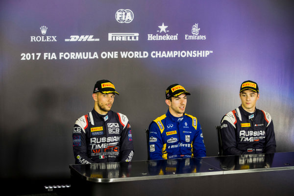 2017 FIA Formula 2 Round 6. Silverstone, Northamptonshire, UK. Sunday 16 July 2017. Luca Ghiotto (ITA, RUSSIAN TIME), Nicholas Latifi (CAN, DAMS), Artem Markelov (RUS, RUSSIAN TIME).  Photo: Zak Mauger/FIA Formula 2. ref: Digital Image _56I0833