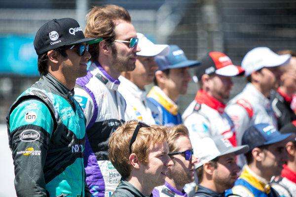 2015/2016 FIA Formula E Championship. Mexico City ePrix, Autodromo Hermanos Rodriguez, Mexico City, Mexico. Friday 11 March 2016. The drivers pose for a group photo. Photo: Zak Mauger/LAT/Formula E ref: Digital Image _79P2650