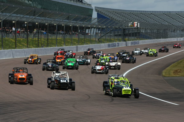 Caterham Super 7 Inter Series, Rockingham, 30th April-1st May 2016. The start of the race World Copyright: Ebrey/LAT