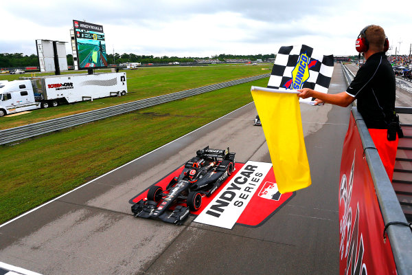 10-12 April, 2015, Avondale, Louisiana USA James Hinchcliffe drives under the checkered flag to win ?2015, Russell LaBounty LAT Photo USA