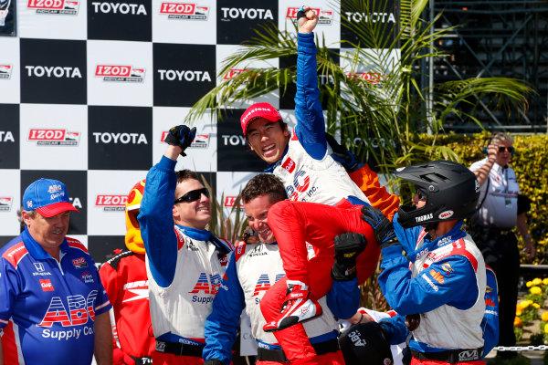 19-21 April, 2013, Long Beach, California, USA Takuma Sato celebrates in victory lane © 2013, Michael L. Levitt LAT Photo USA.