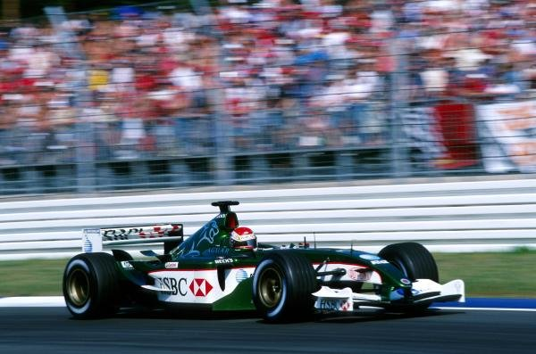 Justin Wilson (GBR) Jaguar R4, on his first outing with Jaguar, was an unfortunate victim of the first lap accident, eventually retiring on lap seven with a transmission failure. German Grand Prix, Rd12, Hockenheim, 3 August 2003.BEST IMAGE