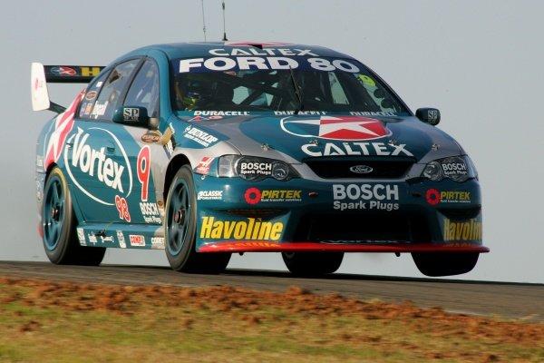 Russell Ingall (AUS) SBR Ford Falcon took the round win . Australian V8 Supercar Championship, Rd8, Oran Park, Australia, 14 August 2005. DIGITAL IMAGE