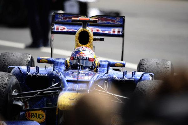 Sebastian Vettel (GER) Red Bull Racing RB8 finished third. Formula One World Championship, Rd9, British Grand Prix, Race, Silverstone, England, Sunday 8 July 2012.  BEST IMAGE