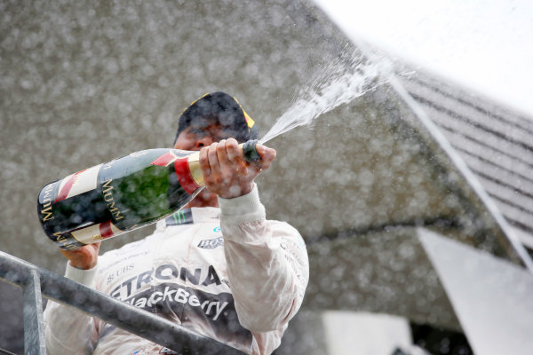 Spa-Francorchamps, Spa, Belgium. Sunday 23 August 2015. Lewis Hamilton, Mercedes AMG, 1st Position, sprays the victory Champagne. World Copyright: Steven Tee/LAT Photographic ref: Digital Image _L4R2531