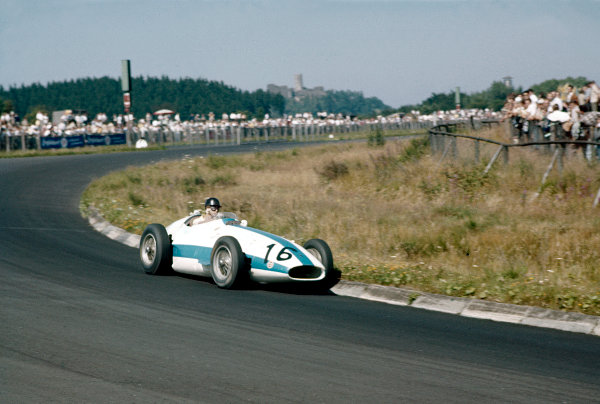 1957 German Grand Prix.Nurburgring, Germany.2-4 August 1957.Masten Gregory (Maserati 250F) 8th position.Ref-57 GER 10.World Copyright - LAT Photographic