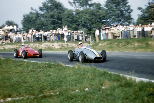 1957 Italian Grand Prix. Monza, Italy. 6-8 September 1957. Jo Bonnier leads Francesco Chico Godia-Sales (both Maserati 250F's). Godia-Sales finished in 9th position. Ref: 57ITA18. World Copyright - LAT Photographic