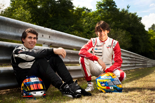 Round 6.Hungaroring, Budapest, Hungary. 29th July 2010. Thursday Preview.Robert Wickens, (CAN, Status Grand Prix) and Esteban Gutierrez, (MEX, ART Grand Prix) winners of races 9 and 10 in the GP3 series at Hockenheim. Portrait. World Copyright: Drew Gibson/GP3 Media Service. Digital Image _Y8P3621