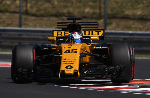 Nicholas Latifi (CDN) Renault Sport F1 Team RS17 with aero sensors at Formula One Testing, Day One, Hungaroring, Hungary, Tuesday 1 August 2017.