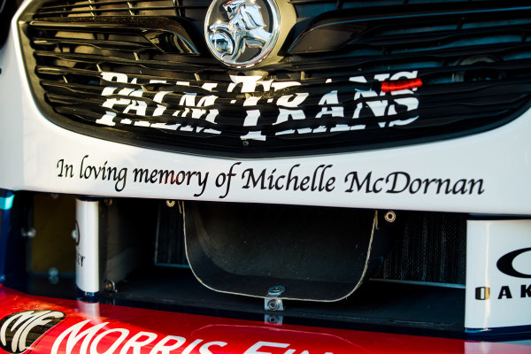 Message in tribute to Michelle McDornan on the car of Chaz Mostert, Walkinshaw Andretti United Holden