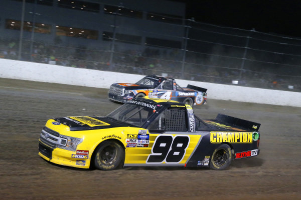 #98: Grant Enfinger, ThorSport Racing, Ford F-150 Champion Power Equipment and #4: Todd Gilliland, Kyle Busch Motorsports, Toyota Tundra JBL/SiriusXM