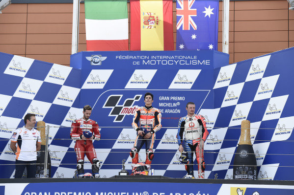 Podium: race winner Marc Marquez, Repsol Honda Team, second place Andrea Dovizioso, Ducati Team, third place Jack Miller, Pramac Racing