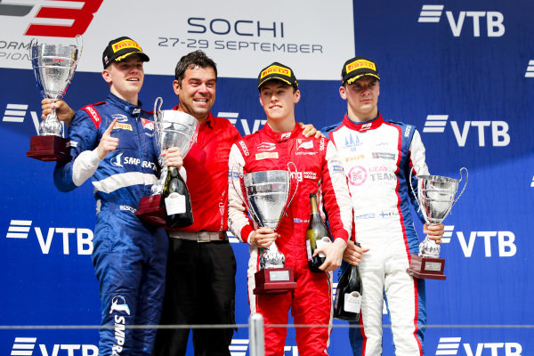 SOCHI AUTODROM, RUSSIAN FEDERATION - SEPTEMBER 28: Robert Shwartzman (RUS, PREMA Racing), Marcus Armstrong (NZL, PREMA Racing) and Niko Kari (FIN, Trident) on the podium with the trophy during the Sochi at Sochi Autodrom on September 28, 2019 in Sochi Autodrom, Russian Federation. (Photo by Carl Bingham / LAT Images / FIA F3 Championship)