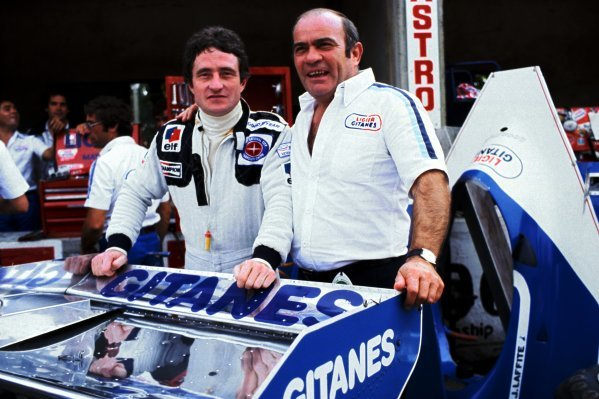 (L to R): Patrick Depailler (FRA) Tyrrell, who finished the race in eleventh position, was announced by Guy Ligier (FRA) Ligier Team Owner as a Ligier driver for the 1979 season during practice. 