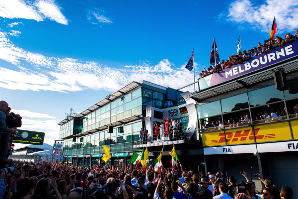 Podioum celebrations at Formula One World Championship, Rd1, Australian Grand Prix, Race, Albert Park, Melbourne, Australia, Sunday 26 March 2017.