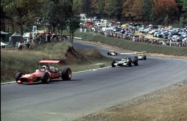 1968 Canadian Grand Prix.Mont-Tremblant, (St. Jovite), Quebec, Canada.20-22 September 1968.Chris Amon (Ferrari 312) leads Jo Siffert (Lotus 49B Ford), Jochen Rindt (Brabham BT26 Repco) and Dan Gurney (McLaren M7A Ford).Ref-68 CAN 58.World Copyright - LAT Photographic