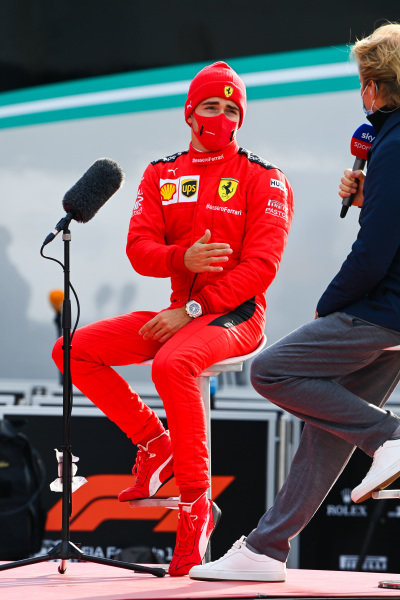 Charles Leclerc, Ferrari, is interviewed by Nico Rosberg for Sky Sports F1