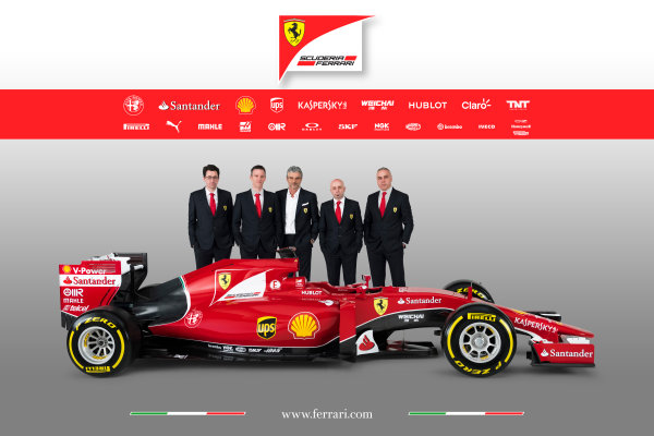Ferrari SF-15T Reveal 30 January 2015 Technical Chief James Allison and Team Principal Maurizio Arrivabene with the new Ferrari SF-15T. Photo: Ferrari (Copyright Free FOR EDITORIAL USE ONLY) ref: Digital Image 150004eve