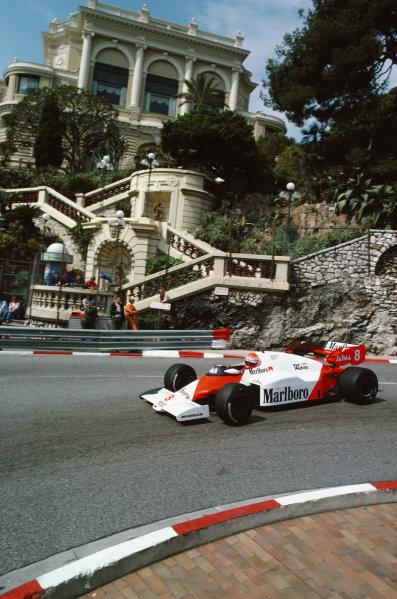 1984 Monaco Grand Prix. Monte Carlo, Monaco. 31st May - 3rd June 1984. Niki Lauda (McLaren MP4/2-TAG Porsche), retired, action.  World Copyright: LAT Photographic. Ref:  84 MON b