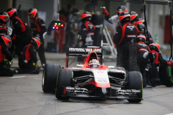 Suzuka Circuit, Suzuka, Japan.  Sunday 5 October 2014. Jules Bianchi, Marussia MR03 Ferrari, leaves the pits. World Copyright: Glenn Dunbar/LAT Photographic. ref: Digital Image _W2Q8584