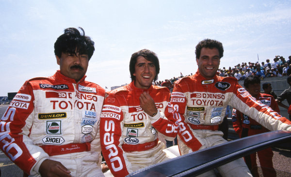 (L to R): Naoki Nagasaka (JPN), Pierre-Henri Raphanel (FRA) and Roland Ratzenberger (AUT) Toyota Team SARD. Le Mans 24 Hours, Le Mans, France, 16-17 June 1990.