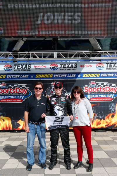 9-10 April, 2015, Fort Worth,Texas USA Erik Jones celebrates winning the pole with his parents ?2014, Lesley Ann Miller LAT Photo USA