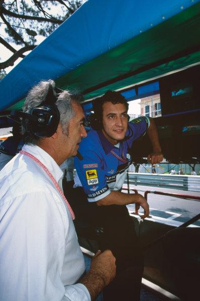 1999 Monaco Grand Prix, Monte Carlo, Monaco. 13th - 16th May 1999. Rd 4. Benetton Team Manager, Rocco Benetton, with Flavio Briatore, portrait.  World Copyright: Steven Tee/LAT Photographic. Ref:  99 RoccoB 09.