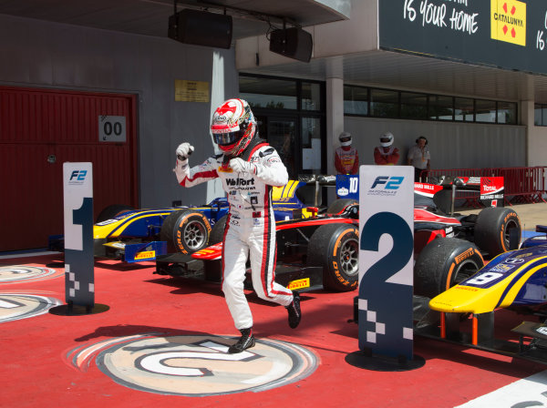 2017 FIA Formula 2 Round 2. Circuit de Catalunya, Barcelona, Spain. Sunday 14 May 2017. Race winner Nobuharu Matsushita (JPN, ART Grand Prix) celebrates victory Photo: Jed Leicester/FIA Formula 2. ref: Digital Image JL1_0349