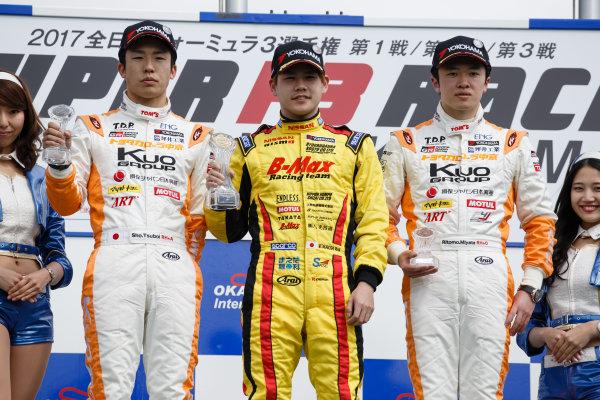 2017 Japanese Formula 3 Championship. Okayama, Japan. 1st - 2nd April 2017. Rd 1, 2 & 3. Rd.1 Winner Mitsunori Takaboshi ( #23 B-MAX NDDP F3 ) 2nd position Sho Tsuboi ( Corolla Chukyo Kuo TOM?S F317 ) 3rd position Ritomo Miyata ( Corolla Chukyo Kuo TOM?S F314 ) podium, portrait. World Copyright: Masaaki Kitagawa / LAT Images. Ref: 2017JF3_Rd1_3_003