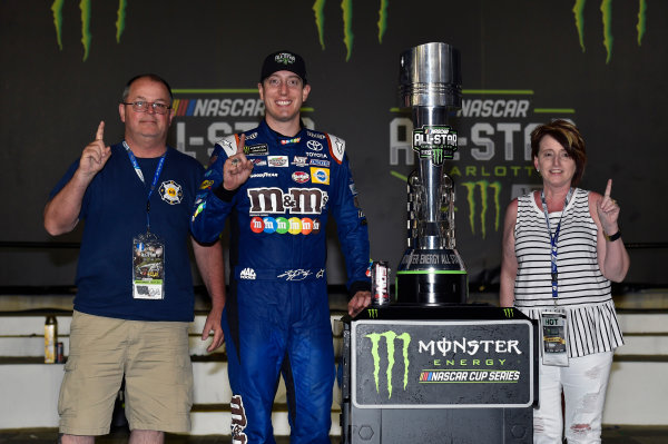 Monster Energy NASCAR Cup Series Monster Energy NASCAR All-Star Race Charlotte Motor Speedway, Concord, NC USA Saturday 20 May 2017 Kyle Busch, Joe Gibbs Racing, M&M's Caramel Toyota Camry celebrates his win in Victory Lane World Copyright: Nigel Kinrade LAT Images ref: Digital Image 17CLT1nk07368
