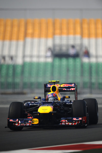 Mark Webber (AUS) Red Bull Racing RB8. Formula One World Championship, Rd17, Indian Grand Prix, Buddh International Circuit, Greater Noida, New Delhi, India, Practice, Friday 26 October 2012.