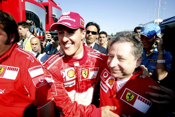 2006 San Marino Grand Prix - Sunday Race Imola, Italy. 20th - 23rd April 2006 Jean Todt and Michael Schumacher, Ferrari 248F1, 1st position, in parc ferme, celebration. World Copyright: Charles Coates/LAT Photographic ref: Digital Image ZK5Y0523